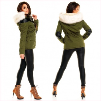Damen Jacke mit Lederärmeln Leder Applikationen khaki schwarz