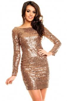Paillettenkleid gold braun schwarz silber rückenfrei