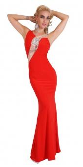 elegantes Abendkleid rückenfrei in rot schwarz