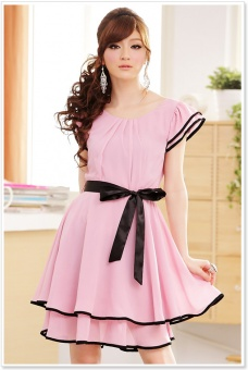 Chiffon Abendkleid knielang rosa 38