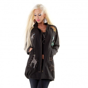 Damen Long Jacke mit Patches