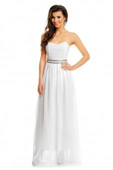 trägerloses Abendkleid lang in weiß oder schwarz