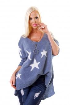 Damen Oversize Pullover mit Sternen