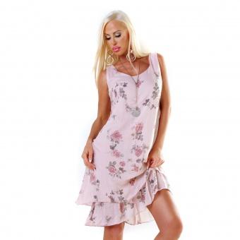 Damen Sommer Kleid Baumwolle mit Rosen Print Lagen Look