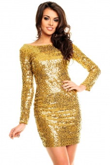Paillettenkleid  gold | XL