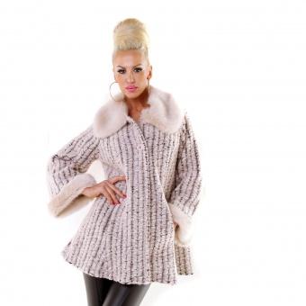 Damen Mantel mit Pelzkragen
