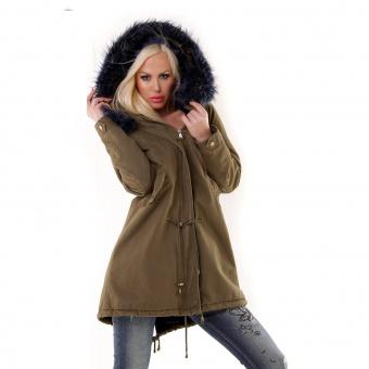 Damen khaki Jacke mit blauem Fell