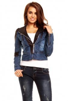 Damen Jeansjacke mit Lederärmeln