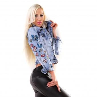 Damen Jeansjacke mit Schmetterling Patches