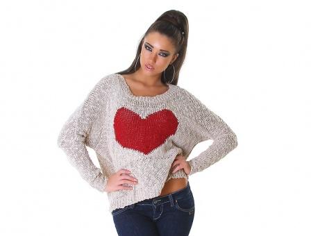Damen Oversize Pullover mit Herz