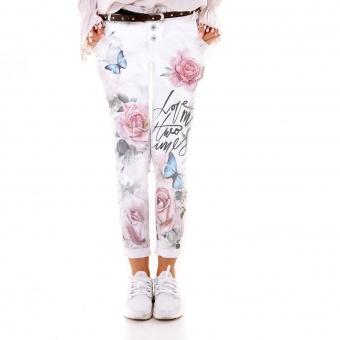 Damen Hose mit Rosenprint und Schmetterlingen