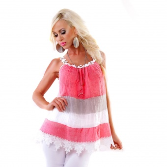 Italy Sommer Tunika Top mit Spitze