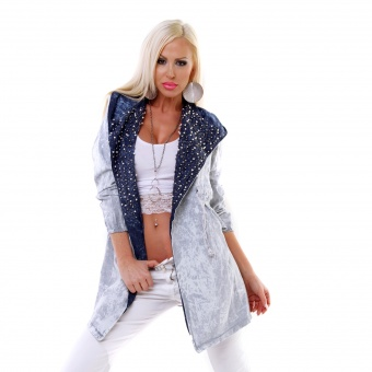 Damen Jeans Jacke mit Perlenstickerei Perlen Strass Batik Look