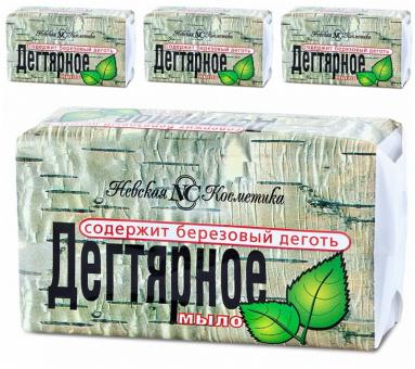 4 x Teerseife Seife Birkenteer мыло дегтярное Невская косметика 10,70€/kg