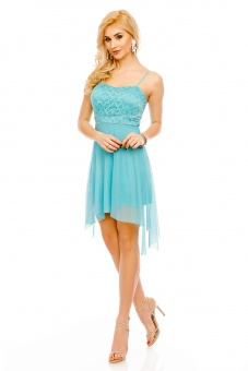 Kleid vorne kurz hinten lang mit Spitze und Tüll