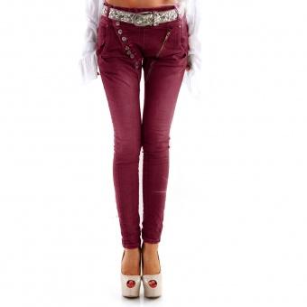 Damen Jeans mit schräger Knopfleiste und Zipp