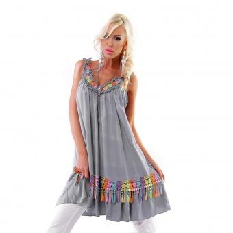Italy Sommer Kleid Tunika mit Häkel Blumen