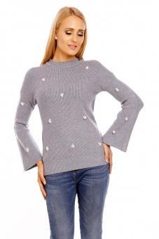 Damen Pullover mit Perlen Applikationen und Trompetenärmel