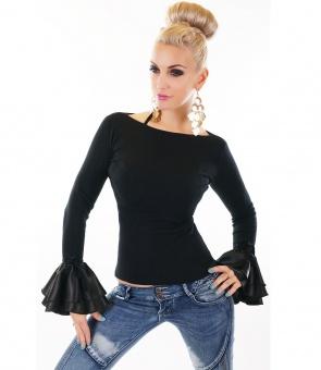 Damen Pullover mit Volantärmel für festliche Mode