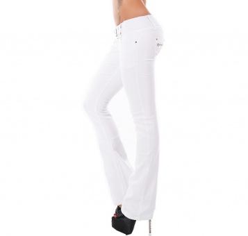 Damen Schlaghose weiß Jeans weiter Schlag Flare Cut