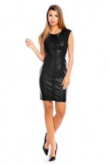 Damen Kleid aus Lederimitat schwarz