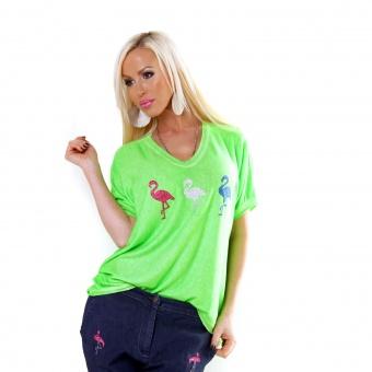 Damen Italy Oversize Neon Shirt mit Glitzer Flamingo