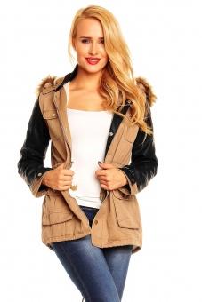 Damen Jacke mit Lederärmeln khaki, beige und schwarz