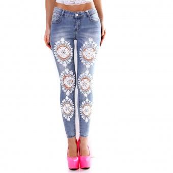 Damen Jeans mit Häkel Spitze Perlen Strass Stickerei