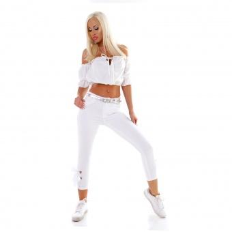 Damen Skinny Jeans mit Schleife Satinband