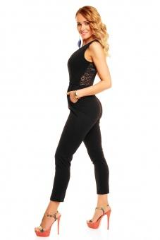 Jumpsuit Rücken mit Spitze in schwarz weiß mint beige