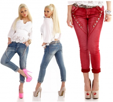 Mozzaar Damen Jeans mit schräger Knopfleiste blau weiß hell blau schwarz