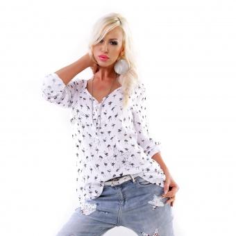 Damen Tunika Bluse mit Flamingo Print und Strass