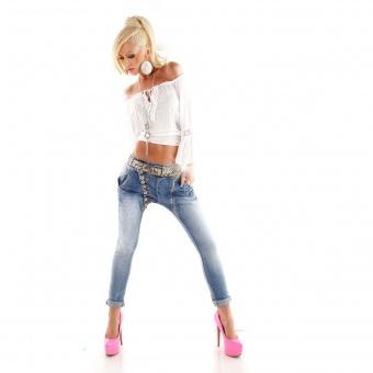 Mozzaar Damen Jeans schräge Knopfleiste Zipper