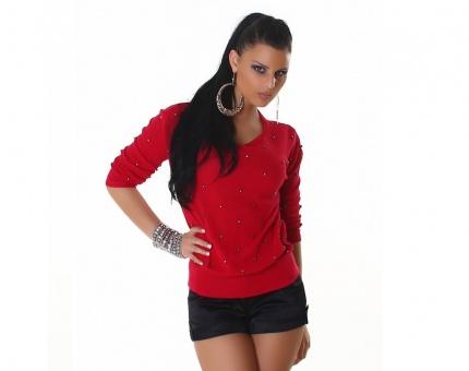 Damen Pullover mit Strass Nieten 5 Farben