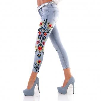 Damen Jeans mit Blumenstickerei am Bein