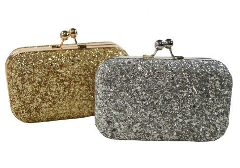 Pailletten Clutch Box in gold oder silber