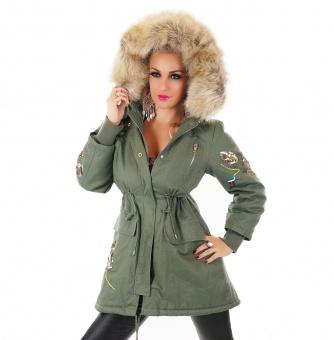 Damen Winterjacke mit Fellfutter Fellkapuze und Pailletten Stickerei