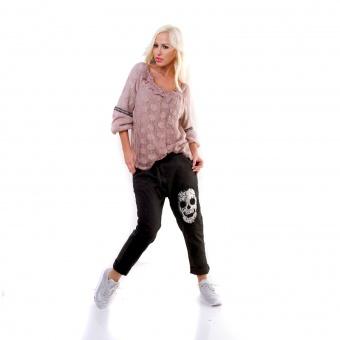 Damen Italy Baggy Jogger Jeans mit Totenkopf Pailletten Stickerei