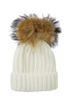 Damen Mütze mit Echtfellbommel extra groß