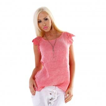Damen Leinen Shirt mit Spitze