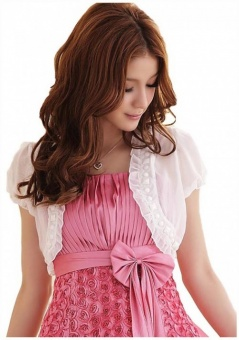 Damen Bolero mit Rüschen ideal zum Abendkleid weiß | 32-38