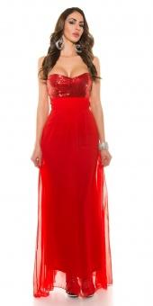 langes Abendkleid rückenfrei mit Pailletten rot   36
