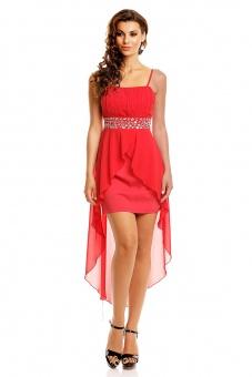 schönes Abendkleid mit Schleppe rot | XL