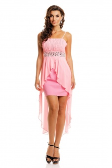 schönes Abendkleid mit Schleppe in rosa weiß schwarz rot blau