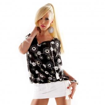 Damen Bluse Tunika mit Garn Stickerei bestickt