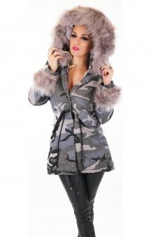 Damen Winterjacke mit Fellfutter und XXL Fellkapuze