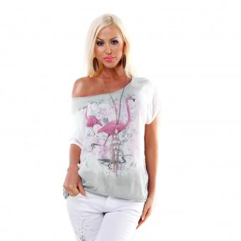 Italy Batik Tunika mit Flamingo Strass Print