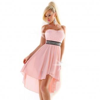 Trägerloses Kleid vorne kurz hinten lang lachs rosa weiß schwarz