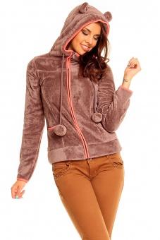 Damen Fleece Jacke mit Kapuze und Ohren braun