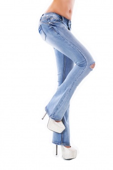 Damen Jeans Schlaghose Risse Hose weiter Schlag